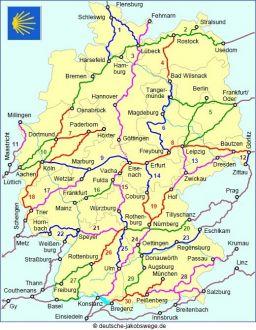 Mapa Dróg Jakubowych w Niemczech