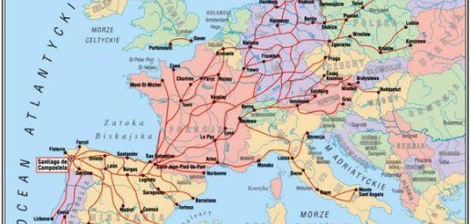 Mapa Dróg Jakubowych w Europie